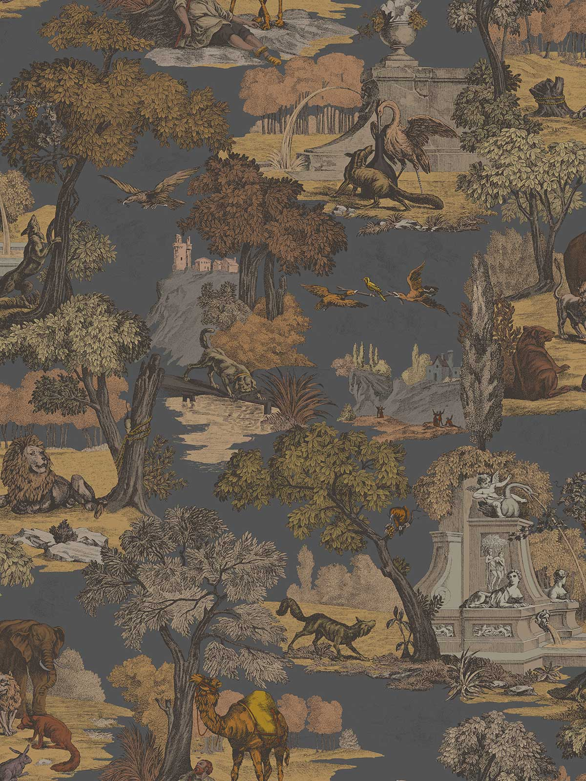 Cole & Son Versailles Grand Charcoal / Bronze Fabric - Product code: F111/6024