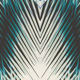 Roberto Cavalli Geometric Palm Teal and White Wallpaper