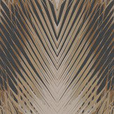 Roberto Cavalli Geometric Palm Black and Bronze Wallpaper