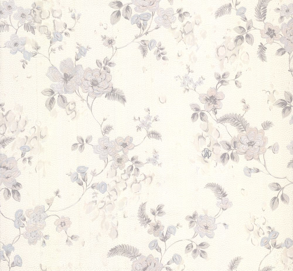 Roberto Cavalli Embroidered Floral White Wallpaper main image
