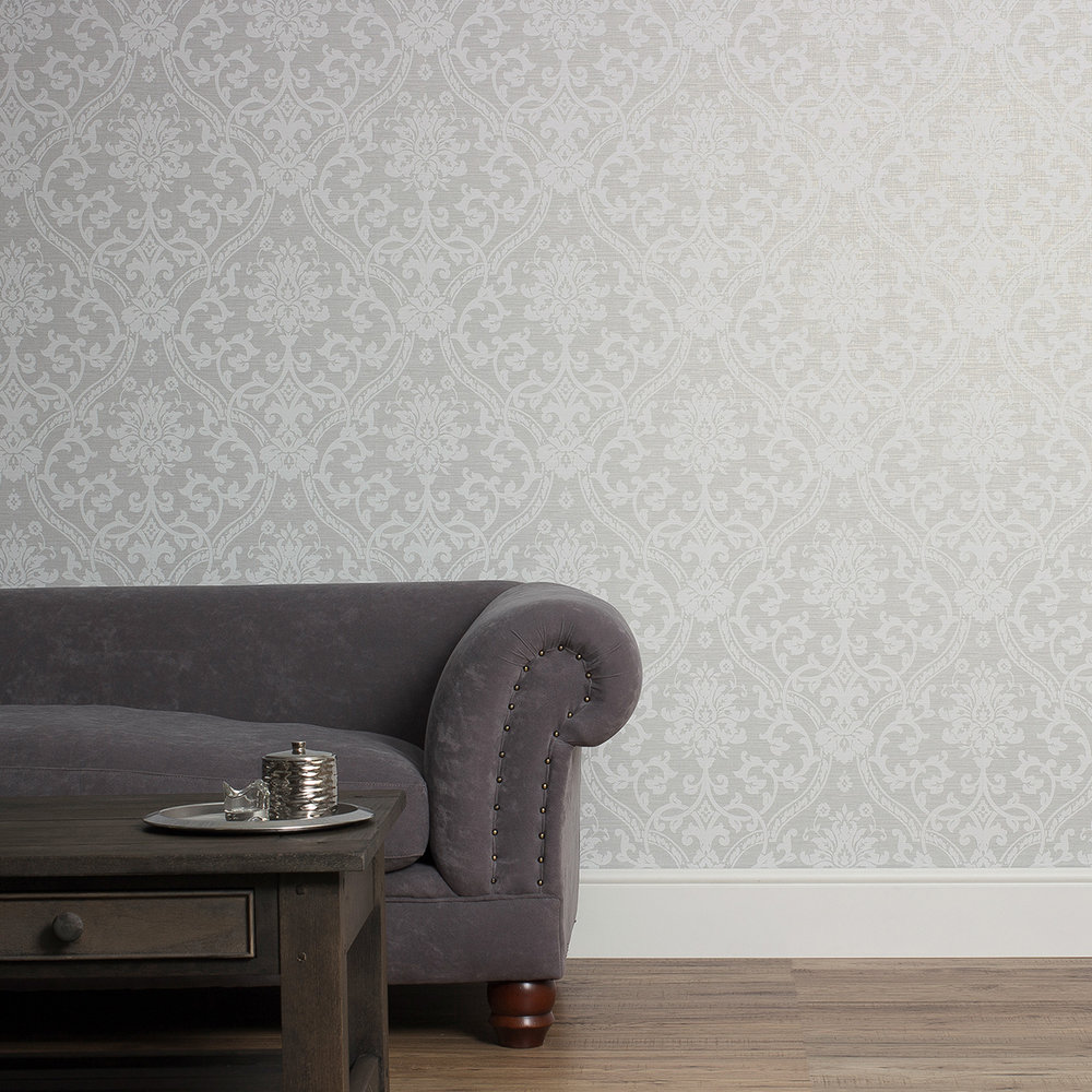 Damask Wallpaper - Grey - by Albany