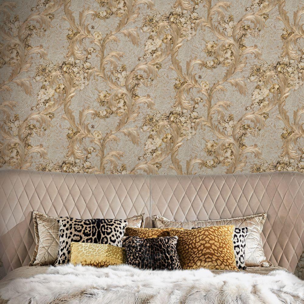 Roberto Cavalli Floral Damask Warm Beige Wallpaper - Product code: 17047
