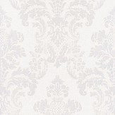 Albany Distressed Damask Opal White Wallpaper