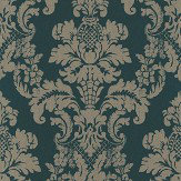 Albany Distressed Damask Green Wallpaper