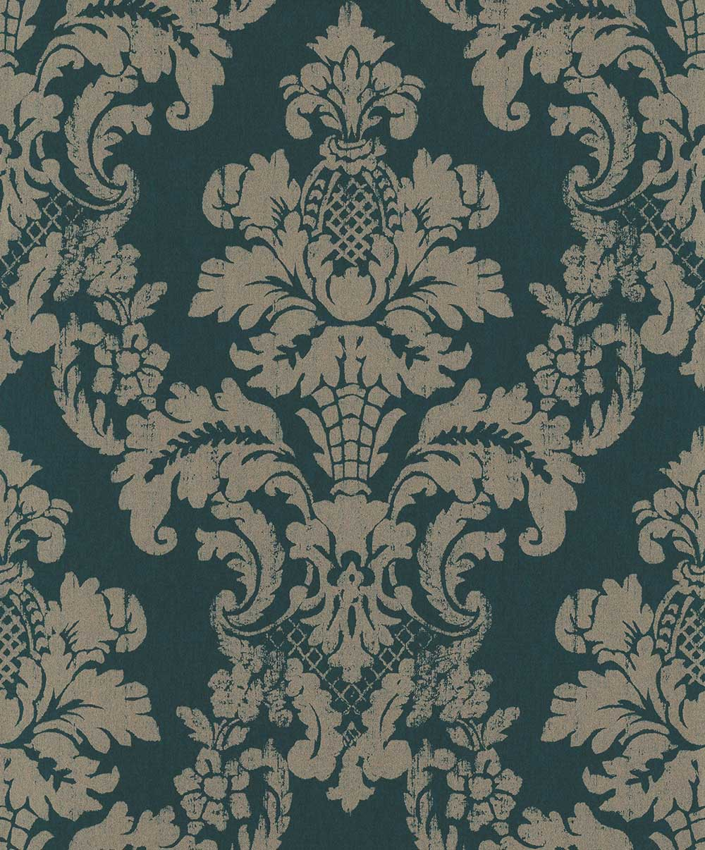 Albany Distressed Damask Green Wallpaper - Product code: 200252