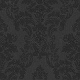 Albany Distressed Damask Black Wallpaper