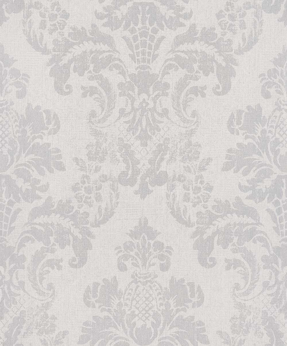Albany Distressed Damask Silver / Cream Wallpaper - Product code: 200257