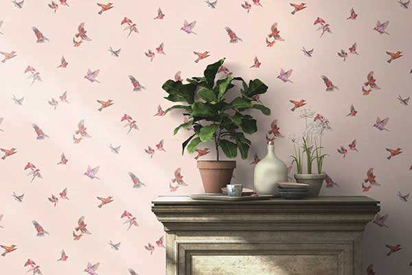 Albany Garden Birds Rose Pink Wallpaper