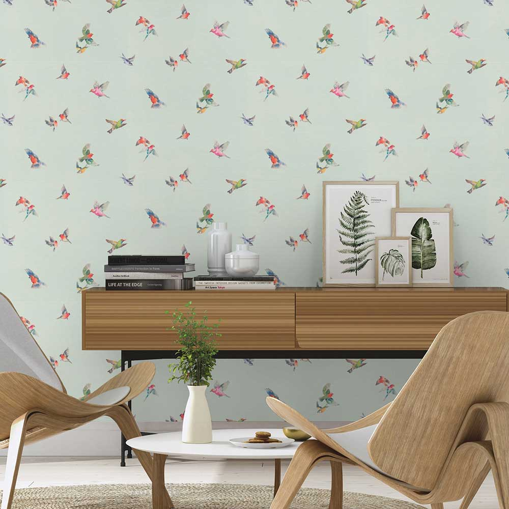 Albany Garden Birds Duck Egg Blue Wallpaper - Product code: 401141