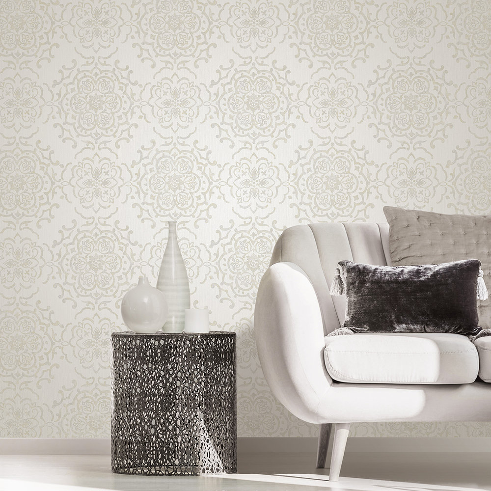 String Medallion Wallpaper - Cream / Gold - by Albany