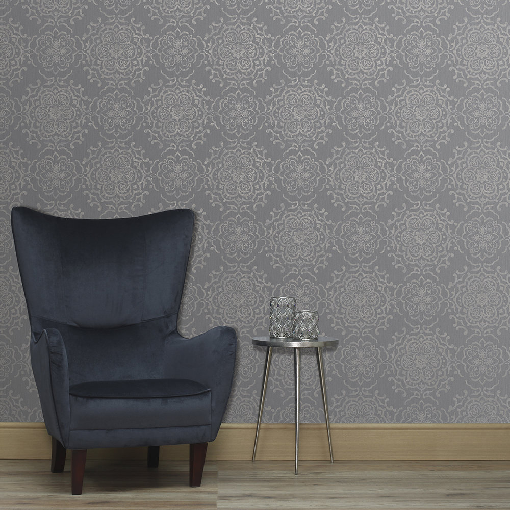 String Medallion Wallpaper - Black / Gilver - by Albany