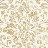 Albany Linen Medallion Damask White / Gold Wallpaper