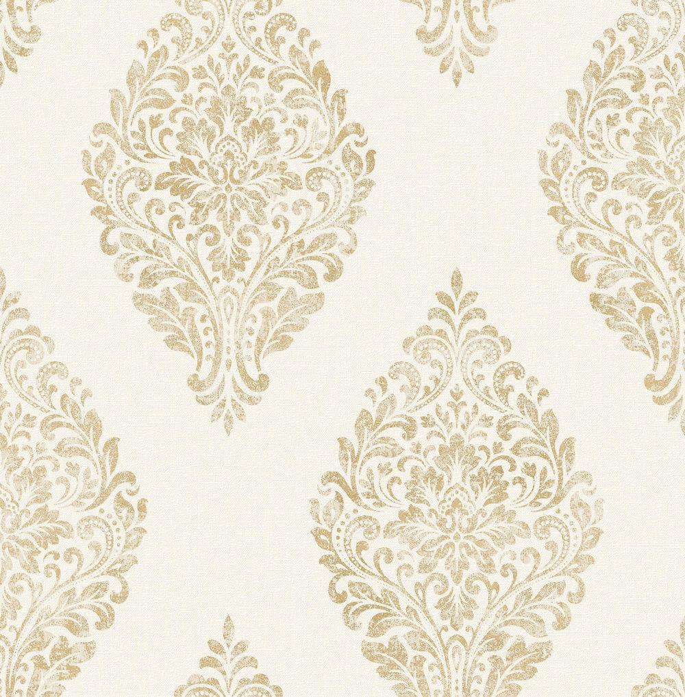 Albany Linen Medallion Damask White / Gold Wallpaper - Product code: 25042