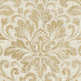 Albany Linen Medallion Damask Warm Beige / Gold Wallpaper - Product code: 25043