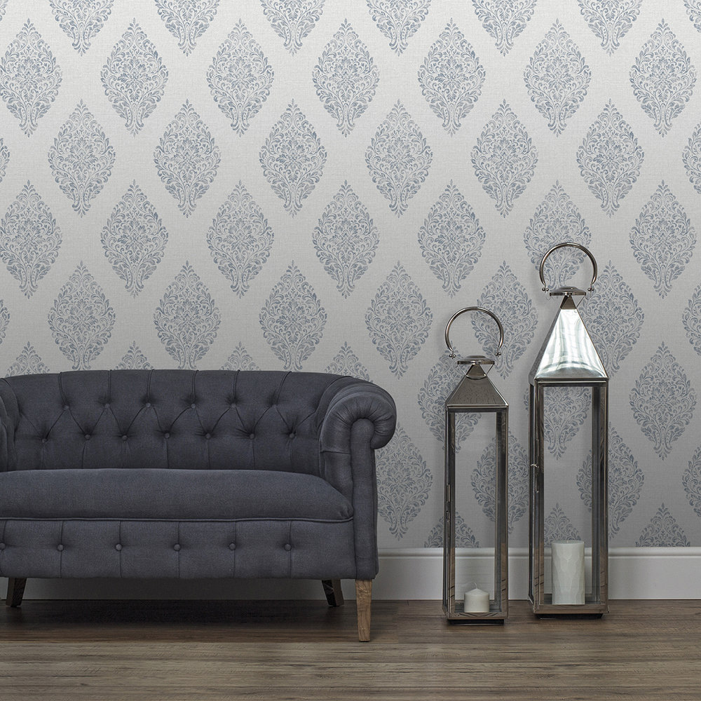 Albany Linen Medallion Damask Grey / Navy Wallpaper - Product code: 25044