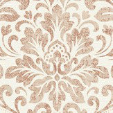 Albany Linen Medallion Damask Cream / Copper Wallpaper - Product code: 25045