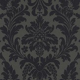 Albany Damask Black Wallpaper