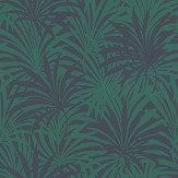 Albany Palm Leaf Green / Blue Wallpaper