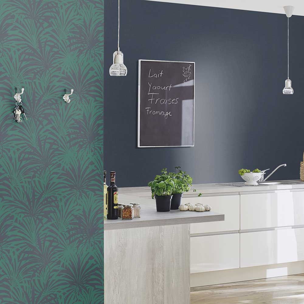 Palm Leaf Wallpaper - Green / Blue - by Albany