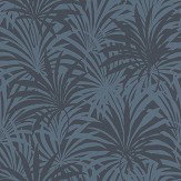 Albany Palm Leaf Blue Wallpaper