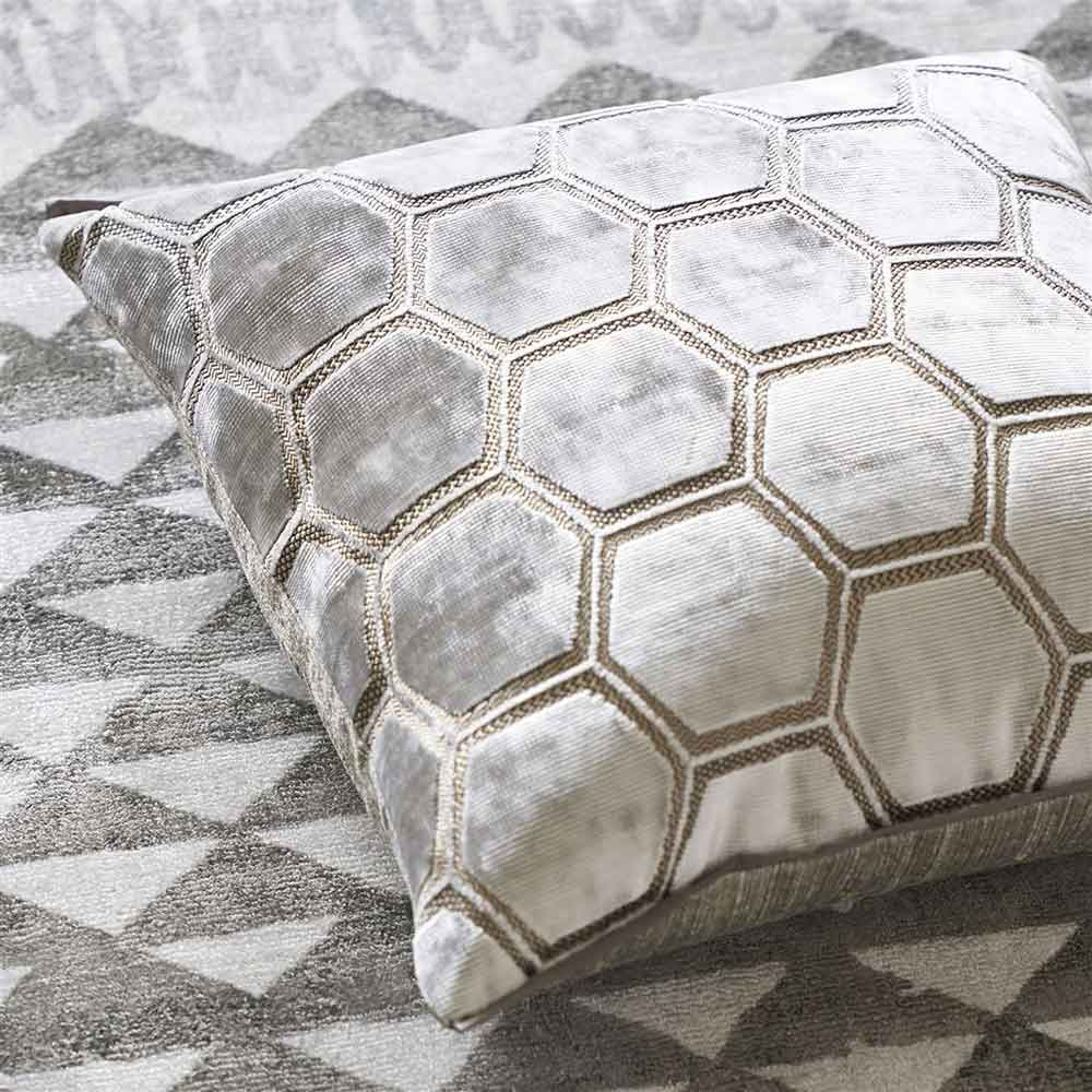 Manipur Cushion - Oyster - by Designers Guild