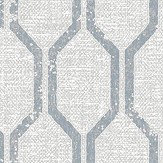 Albany Linen Small Geo Grey / Navy Wallpaper - Product code: 25048