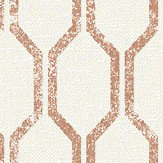 Albany Linen Small Geo White / Copper Wallpaper - Product code: 25049