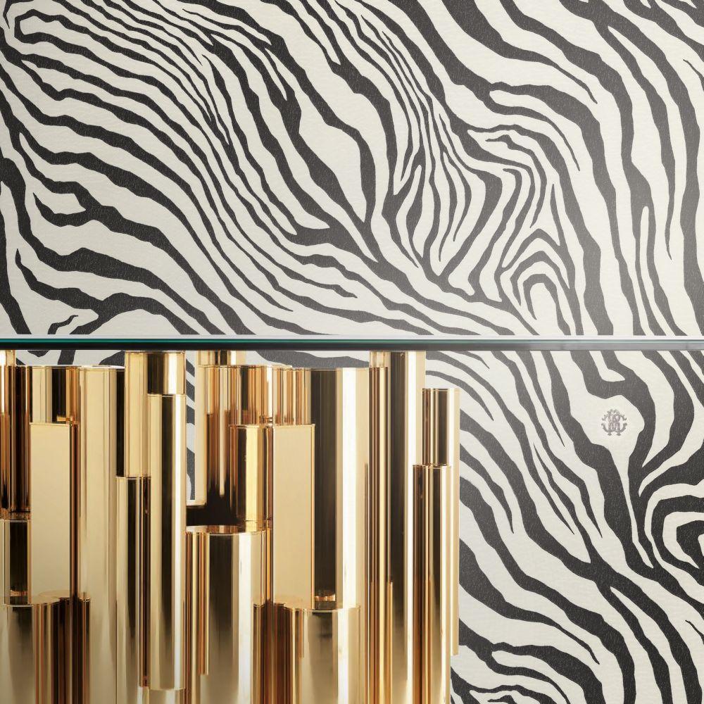 Tiger Print Wallpaper - Black & White - by Roberto Cavalli