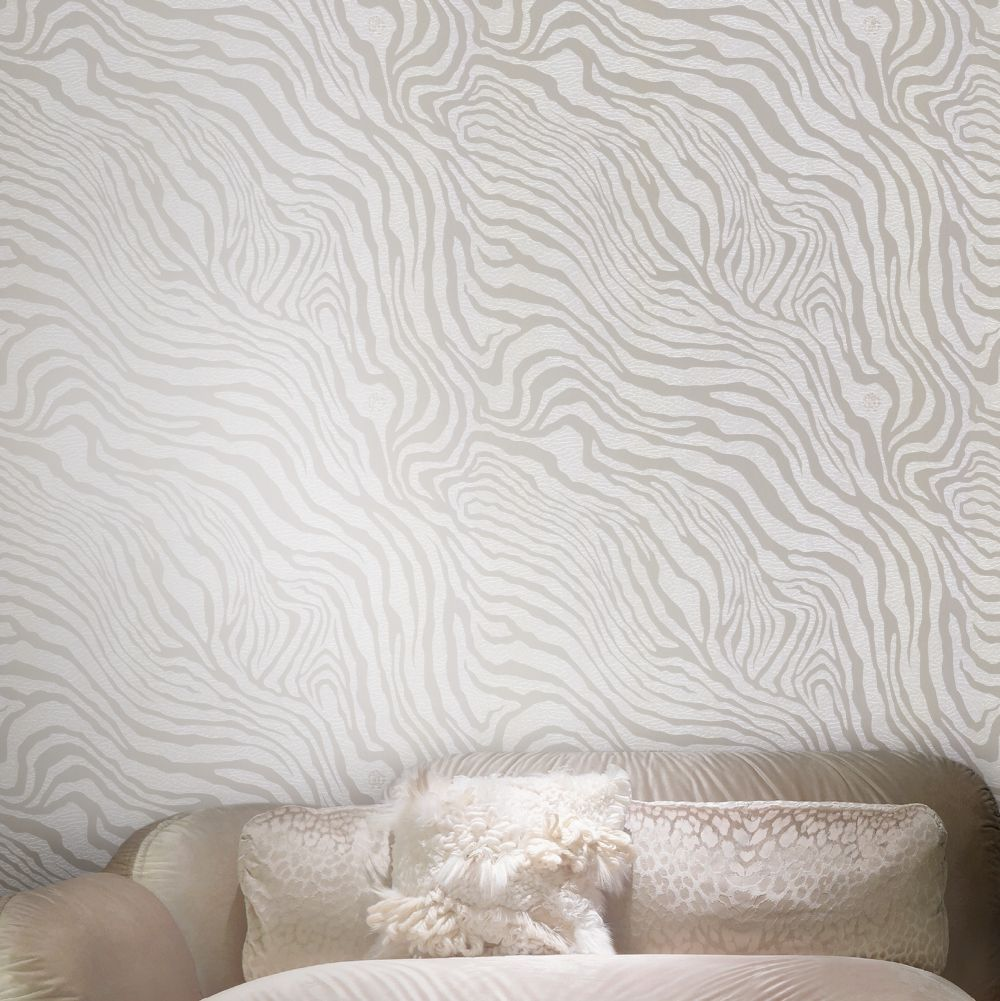 Tiger Print Wallpaper - Taupe - by Roberto Cavalli