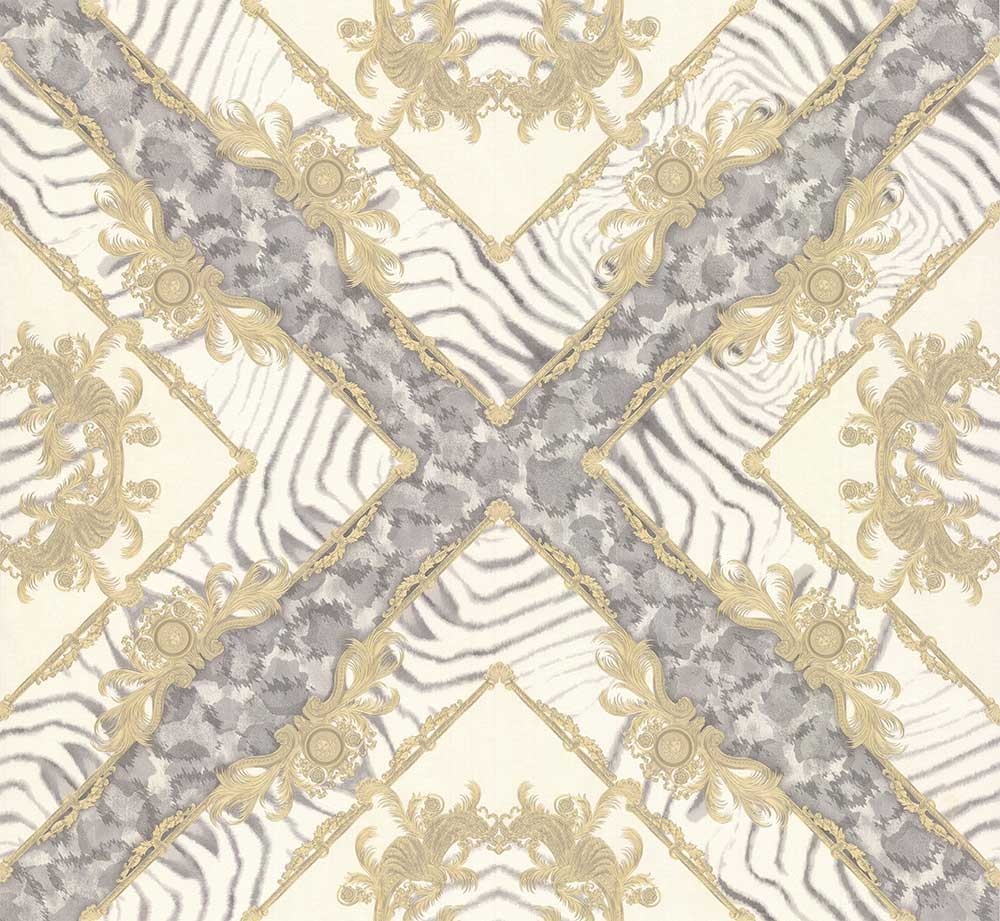 Versace Vasmara Motif  Cream / Grey Wallpaper - Product code: 34904-2