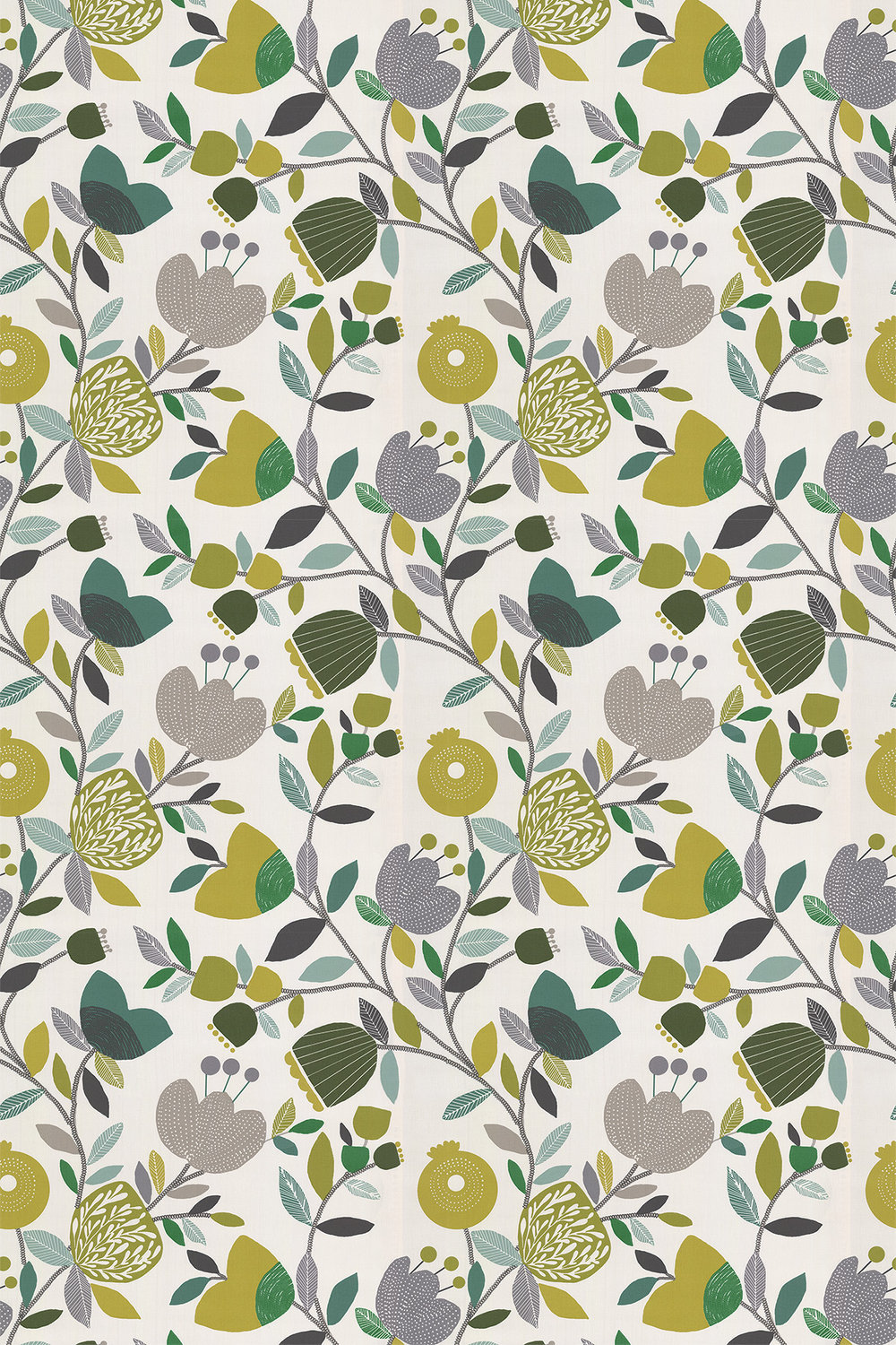 Pomegranate Trail Fabric - Kiwi - by iliv