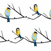 Lorna Syson Juneberry and Bird Blue / Yellow Wallpaper - Product code: JBW