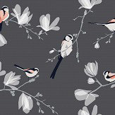 Lorna Syson Long Tailed Tit Dark Blue and Grey Wallpaper
