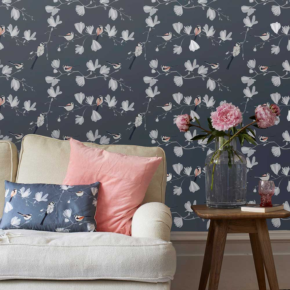 Lorna Syson Long Tailed Tit Dark Blue and Grey Wallpaper - Product code: LTW