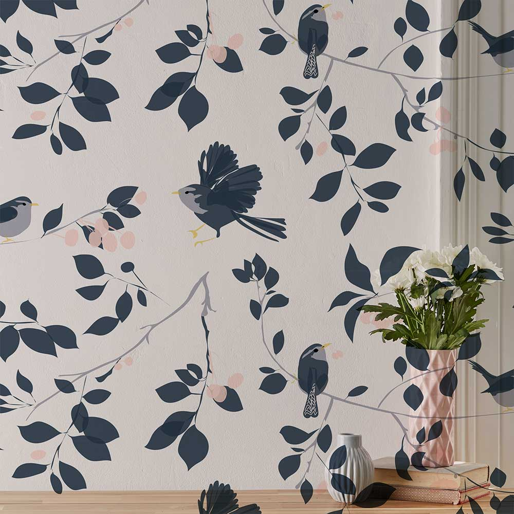 Lorna Syson Wren and Cherry Pink / Navy Wallpaper - Product code: WRW