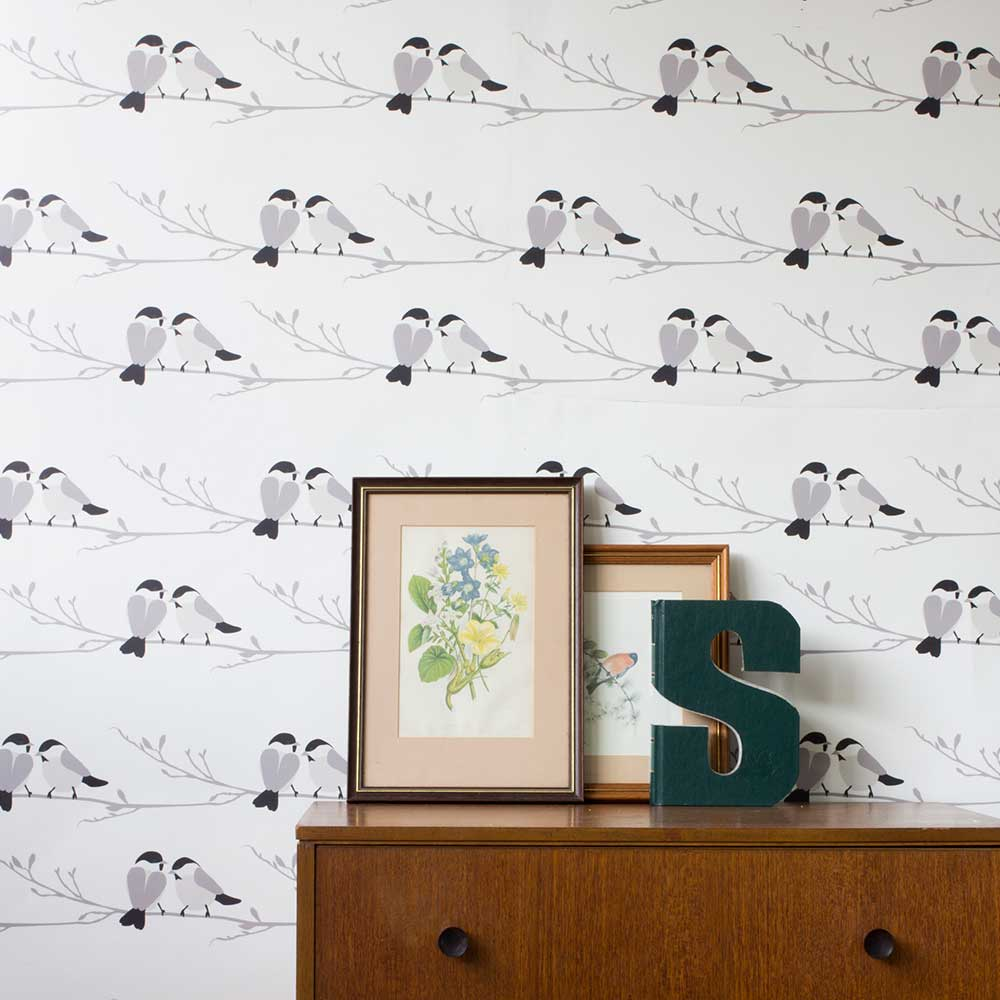 Lorna Syson Willow Tit Grey Wallpaper - Product code: WIW