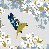 Lorna Syson Greenfinch Blue Wallpaper - Product code: GRW