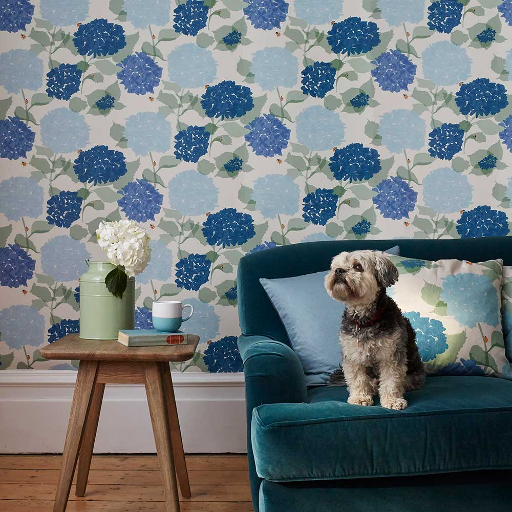 Hydrangea Wallpaper - Blue - by Lorna Syson