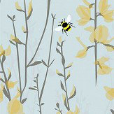 Lorna Syson Broom and Bee Sky Sky Blue Wallpaper