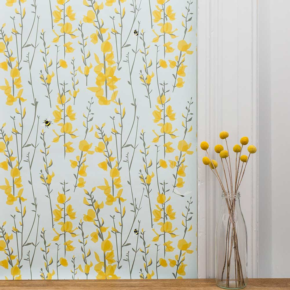Broom and Bee Sky Wallpaper - Sky Blue - by Lorna Syson