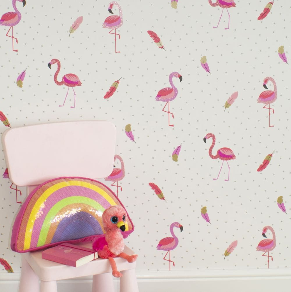 Albany Flamazing White & Pink Wallpaper - Product code: M1424