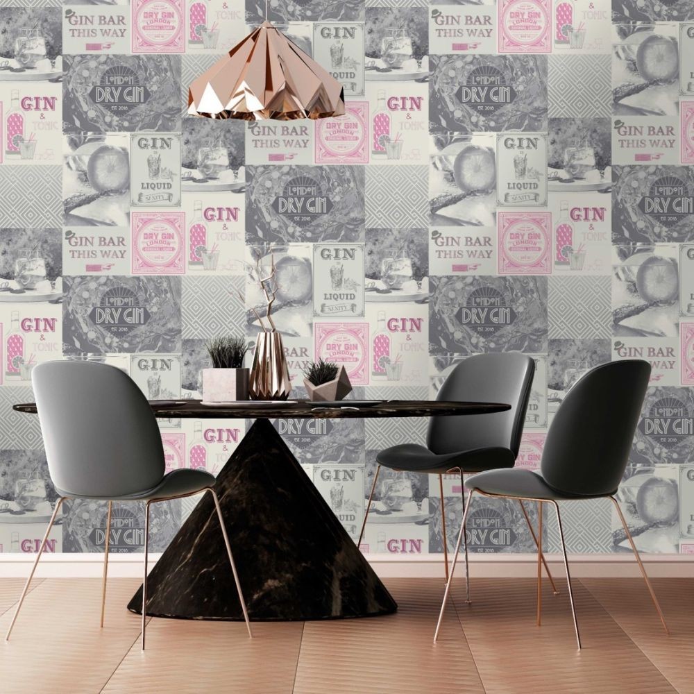 Albany Gin O'Clock Pink & Silver Wallpaper - Product code: M1457