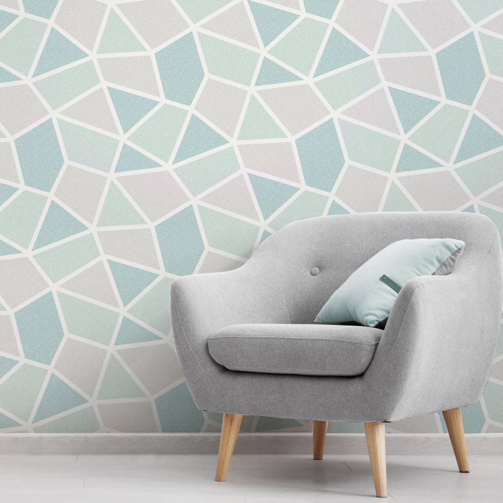 Arendal Geo Wallpaper - Mint - by Albany