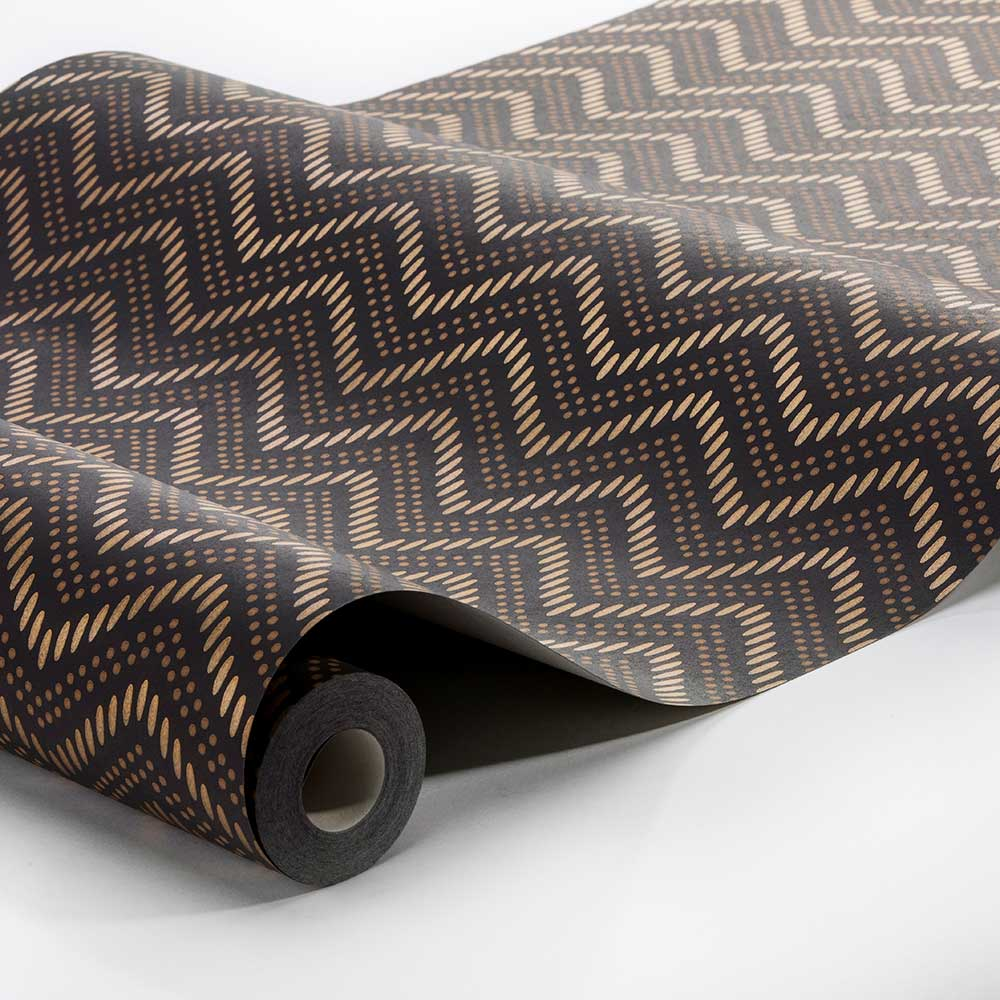 Chevron Dots Wallpaper - Brown - by Engblad & Co