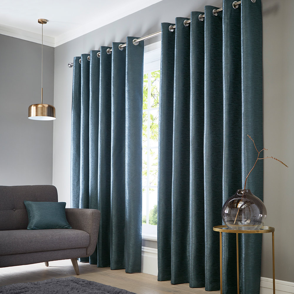 Catalonia Eyelet Curtains Ready Made Curtains - Ocean - by Studio G