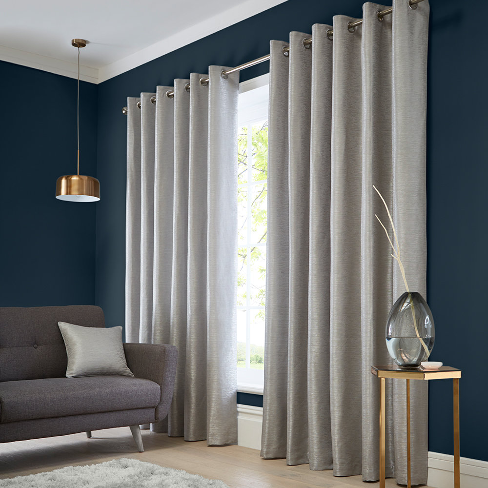 Catalonia Eyelet Curtains Ready Made Curtains - Silver - by Studio G