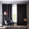 Navarra Eyelet Curtains Ready Made Curtains - Ebony - by Studio G