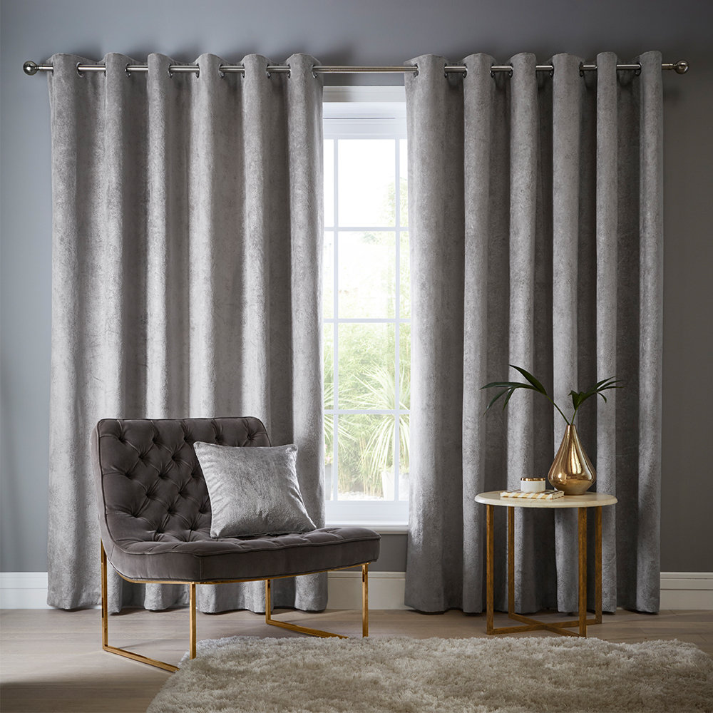 Studio G Navarra Eyelet Curtains Silver Ready Made Curtains - Product code: DA40452535