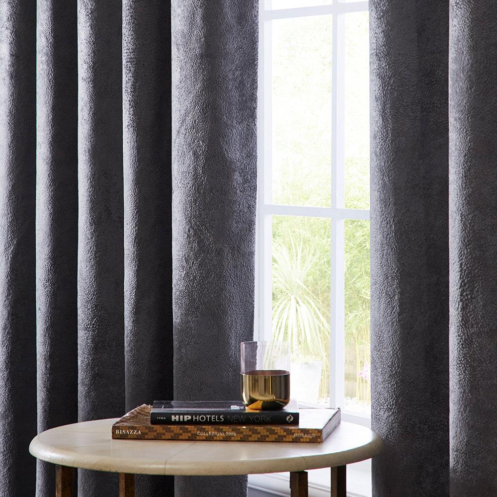 Navarra Eyelet Curtains Ready Made Curtains - Slate - by Studio G