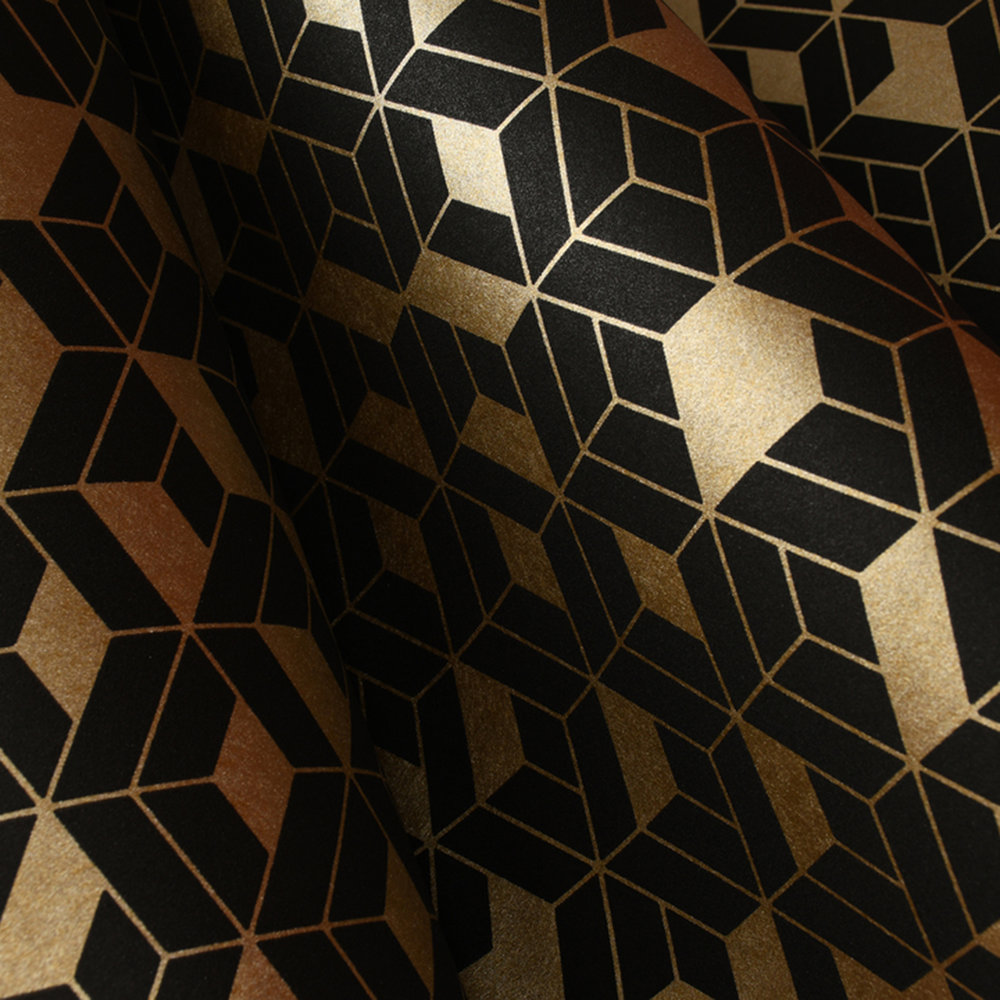Flake Wallpaper - Black / Gold - by Hooked on Walls